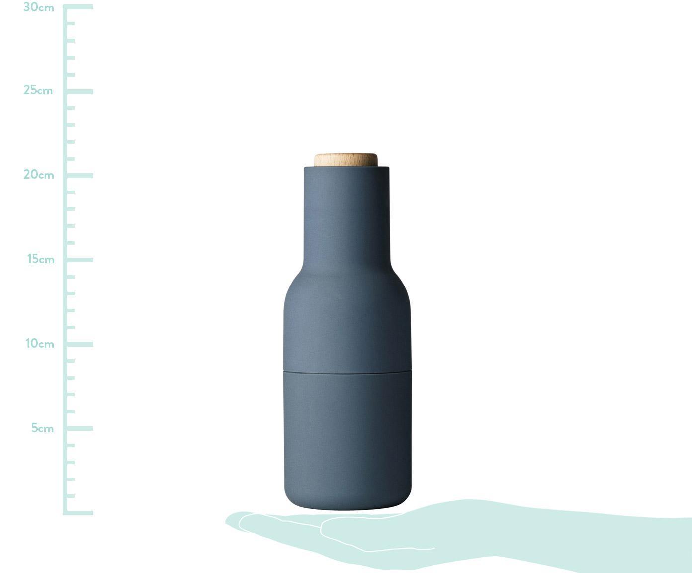 Peper- en zoutmolen Bottle Grinder, 2-delig, Frame: kunststof, keramische gri, Deksel: hout, Blauw, lichtblauw, bruin, Ø 8 x H 21 cm