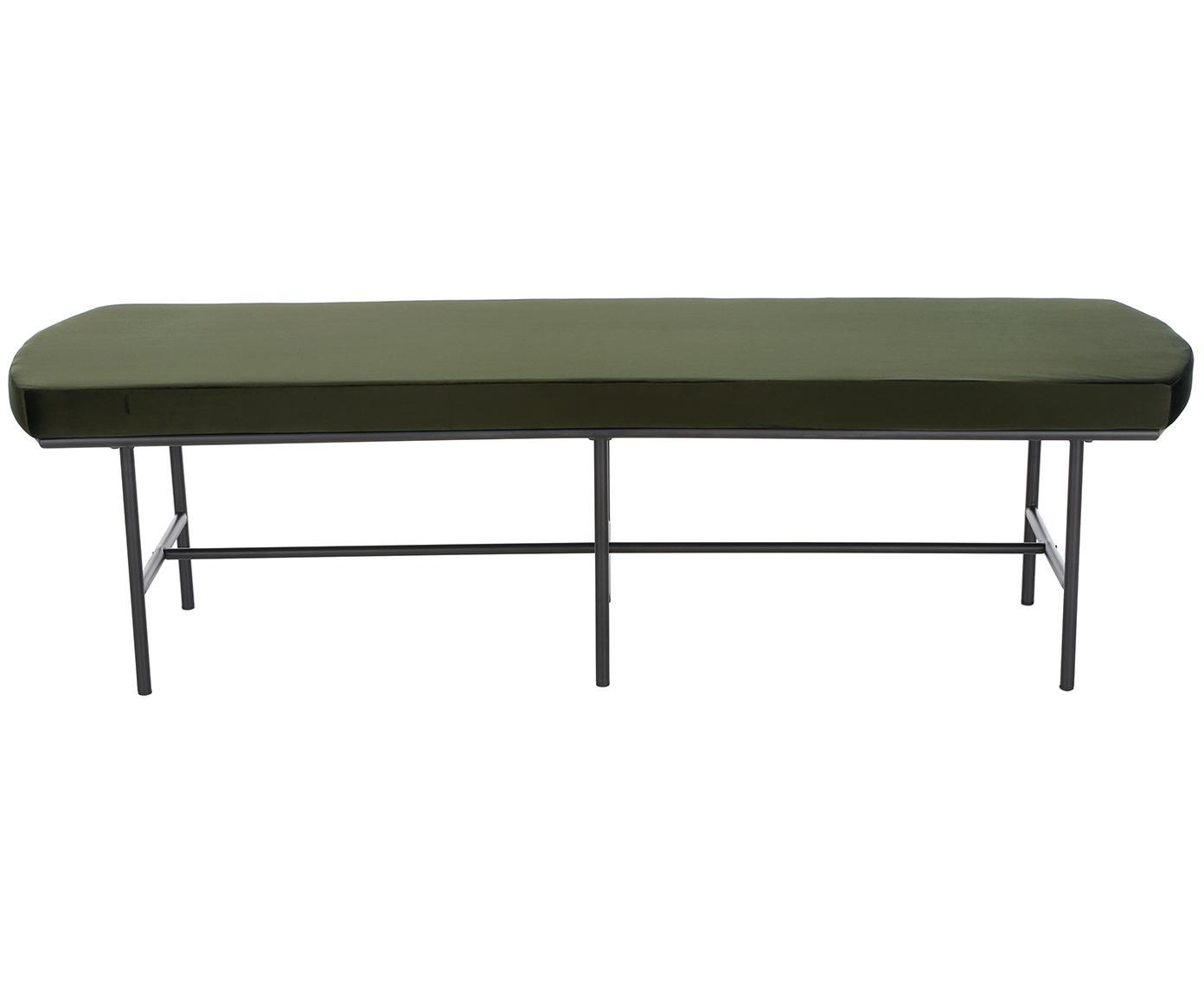 Ławka z aksamitu Jasper, Tapicerka: aksamit (poliester) Tkani, Nogi: metal malowany proszkowo, Ciemny zielony, S 110 x W 45 cm
