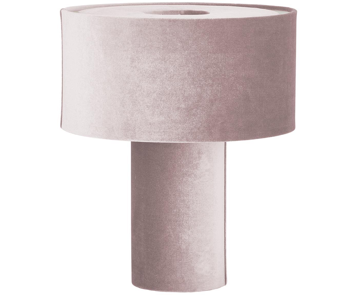 Lampada da tavolo in velluto Frida, Base della lampada: materiale sintetico con r, Paralume: velluto, Rosa, Ø 30 x Alt. 36 cm