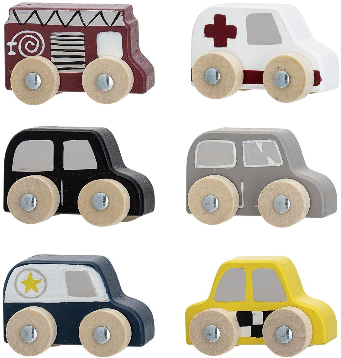 Set juguetes de coches Car, 6 pzas., Tablero de fibras de densidad media (MDF), madera de loto, Multicolor, An 20 x Al 23 cm