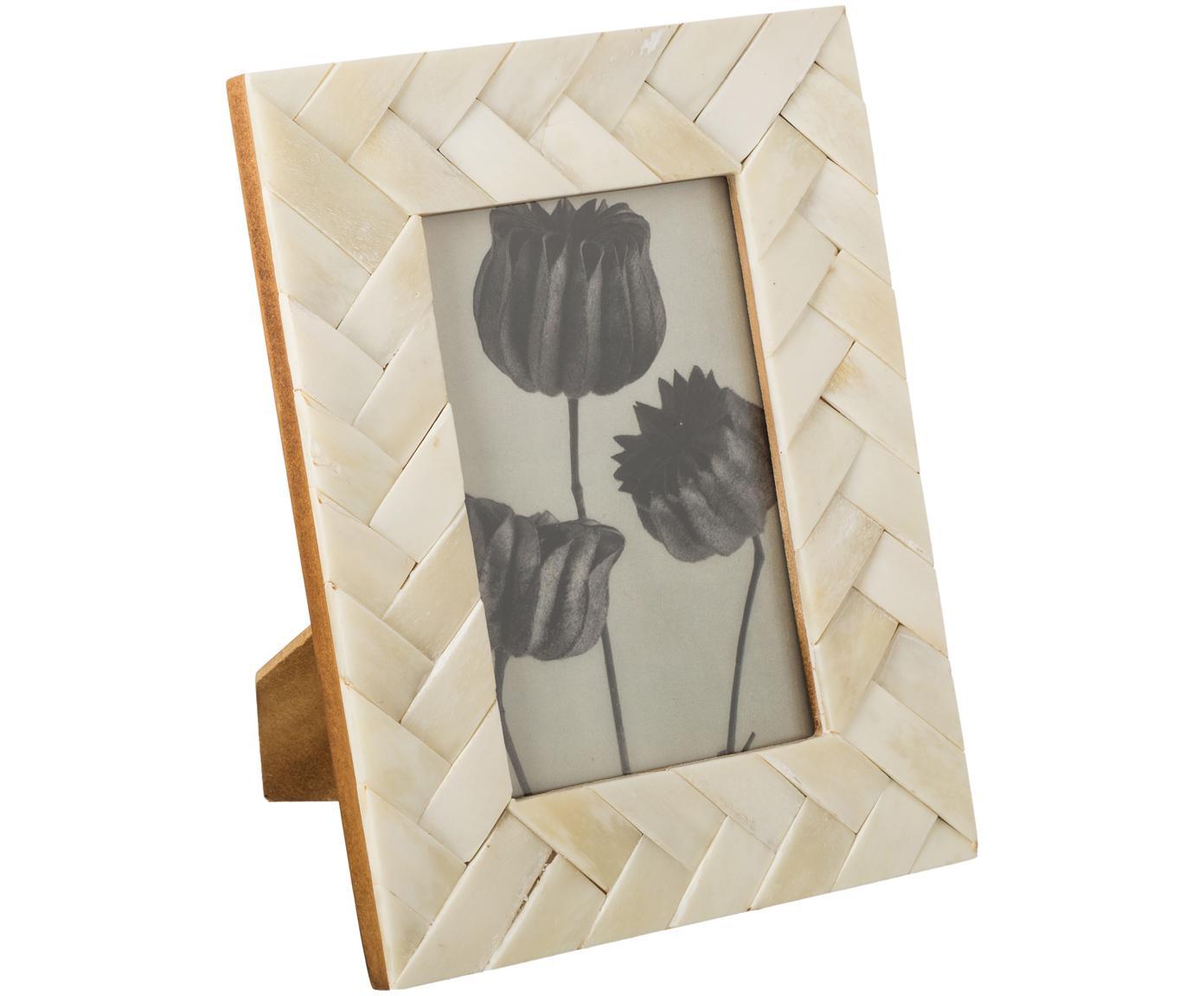 Bilderrahmen Balou, Rahmen: Büffelknochen, Front: Glas, Rückseite: Mitteldichte Holzfaserpla, Elfenbeinfarben, 10 x 10 cm