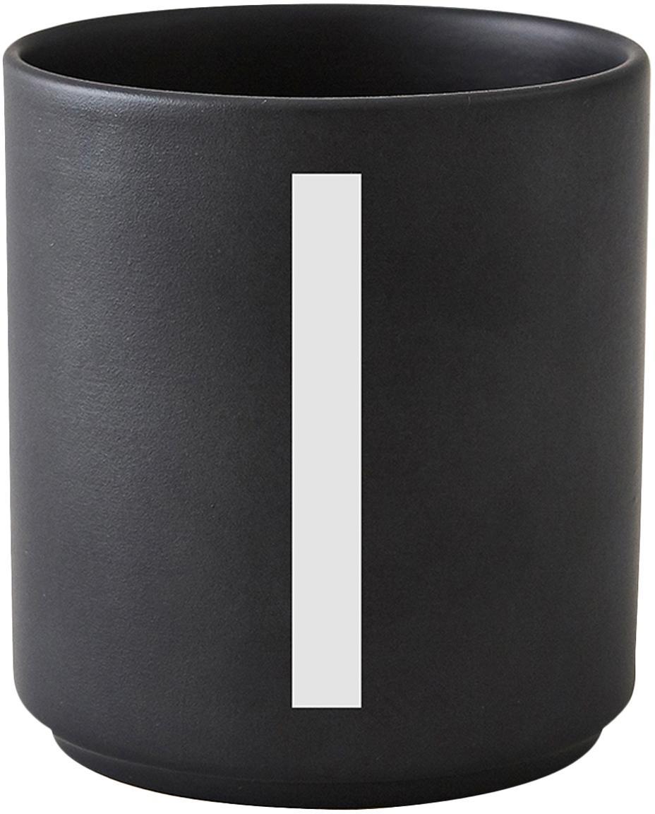 Tazza senza manico di design Personal (varianti dalla A alla Z), Fine Bone China (porcellana), Nero opaco, bianco, Tazza I