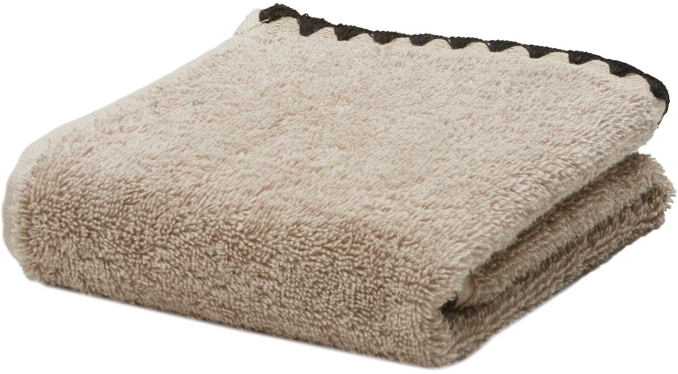 Handtuch Issey in verschiedenen Größen, mit bestickter Borte, Beige, Schwarz, Gästehandtuch