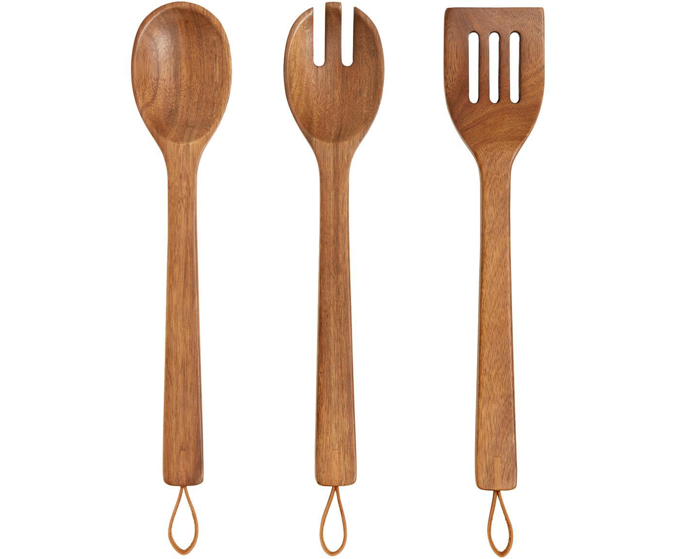 Keukenset Woody, 3-delig, Bestek: acaciahout, Ophanglus: kunstleer, Acaciahoutkleurig, L 35 cm