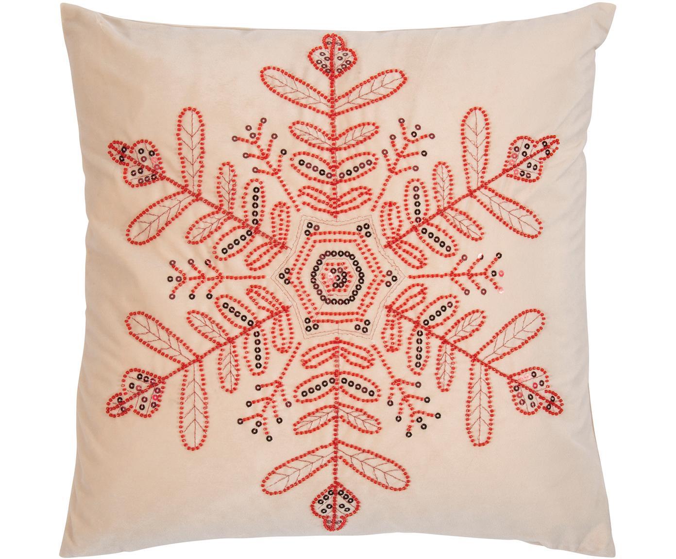 Poszewka na poduszkę z aksamitu Sparkle, Aksamit poliestrowy, Beżowy, czerwony czarny, S 45 x D 45 cm