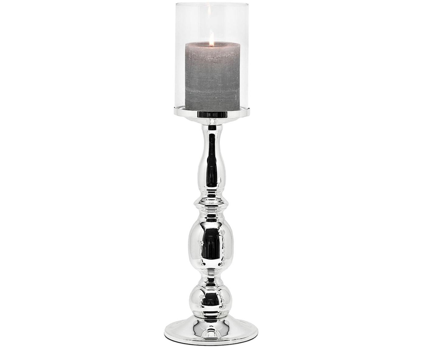 Großes Windlicht Irina, Windlicht: Glas, Transparent, Silber, H 45 x Ø 13 cm