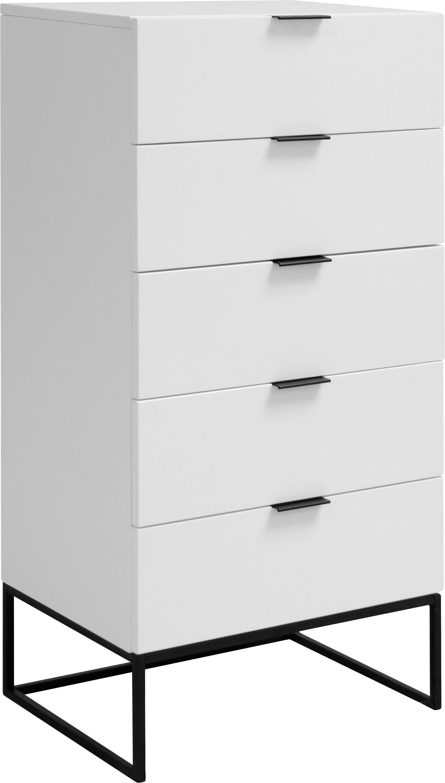 Wysoka komoda z szufladami Kobe, Korpus: biały, matowy Stelaż i uchwyty: czarny, matowy, S 60 x W 120 cm