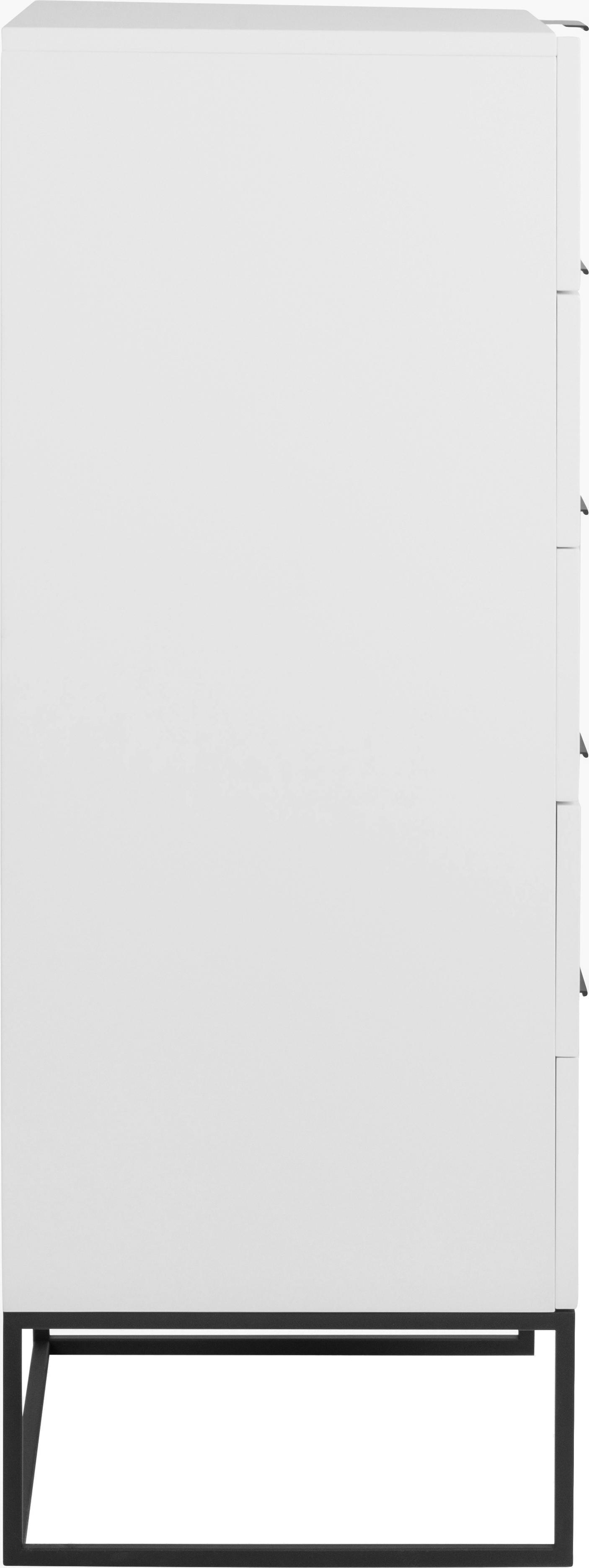 Weißes Highboard Kobe mit Schubladen, Korpus: Weiß, matt Gestell und Griffe: Schwarz, matt, 60 x 120 cm