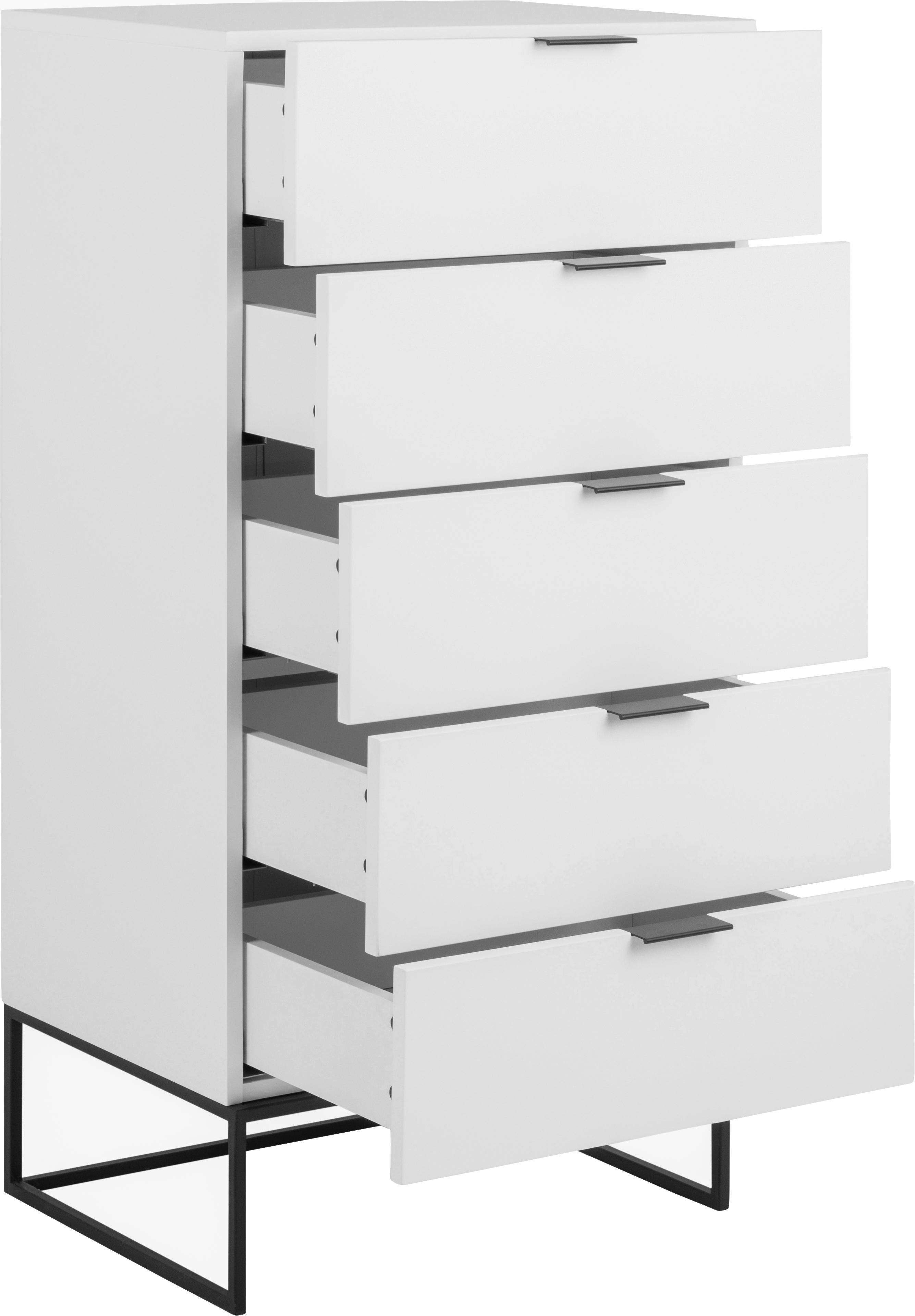 Vysoká skříňka se zásuvkami Kobe, Konstrukce: matná bílá Rám a úchyty: matná černá