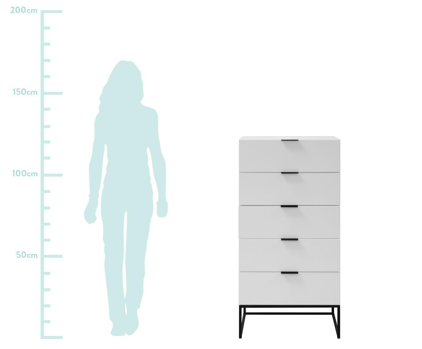 Witte dressoir Kobe met lades, Kast: mat wit. Frame en handvatten: mat zwart, 60 x 120 cm