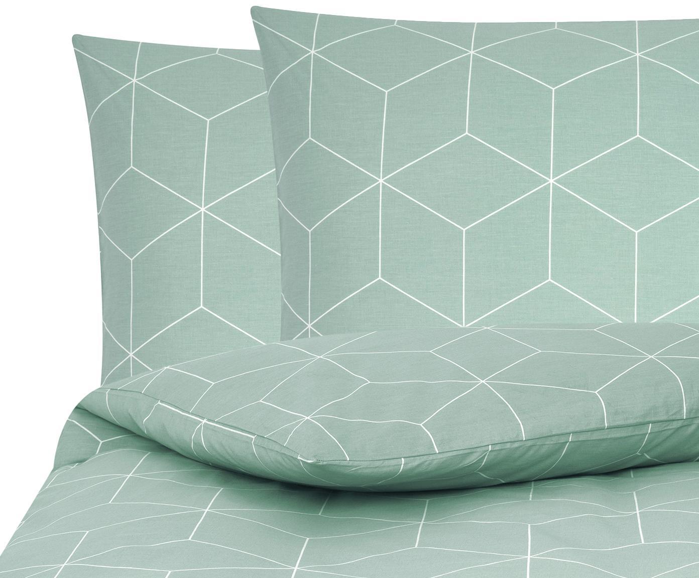 Baumwoll-Bettwäsche Lynn mit grafischem Muster, Webart: Renforcé Fadendichte 144 , Mint, Cremeweiß, 240 x 220 cm + 2 Kissen 80 x 80 cm