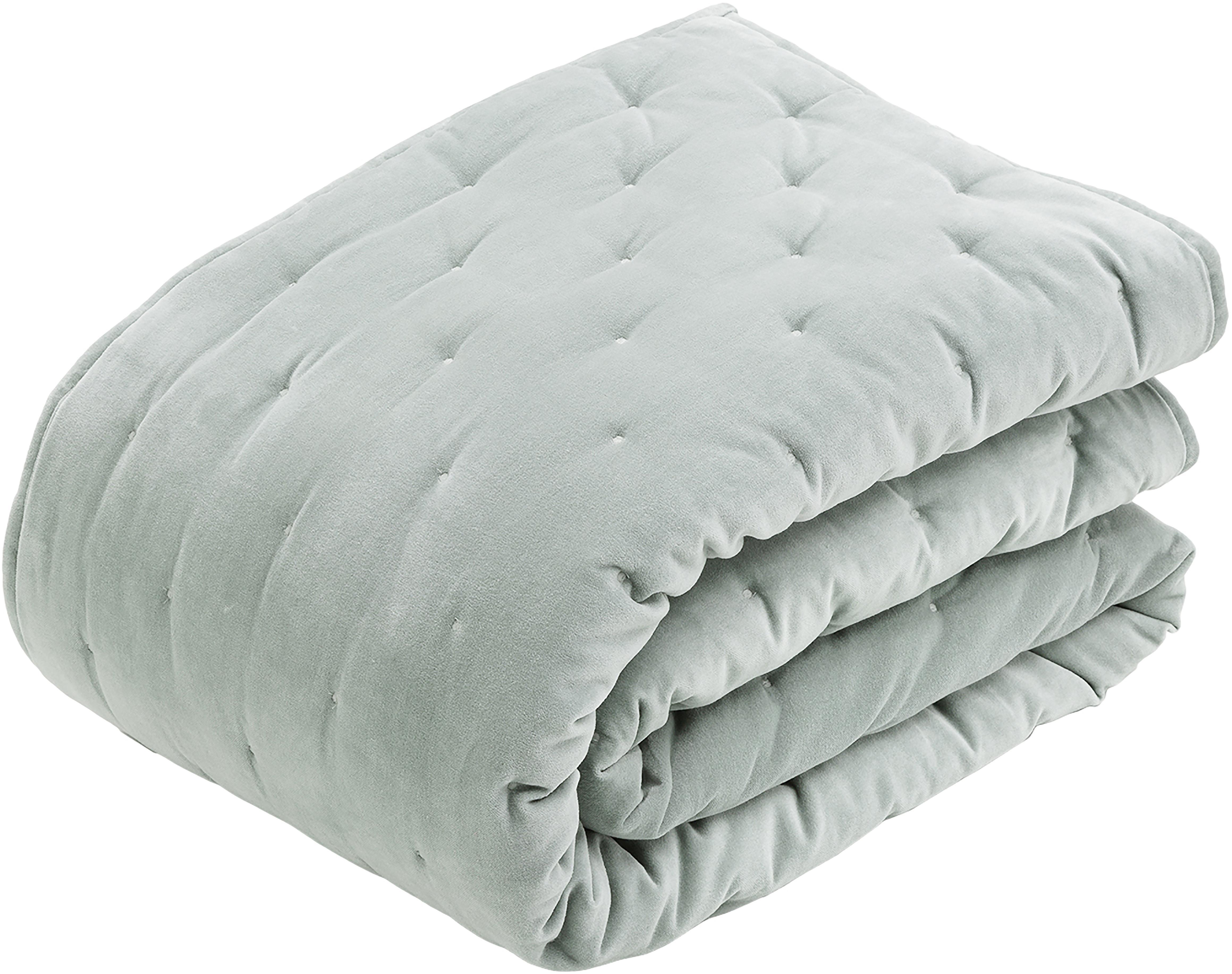 Colcha de terciopelo acolchada Cheryl, Parte superior: 100%terciopelo de algodó, Reverso: 100%algodón, Verde salvia, An 240 x L 250 cm