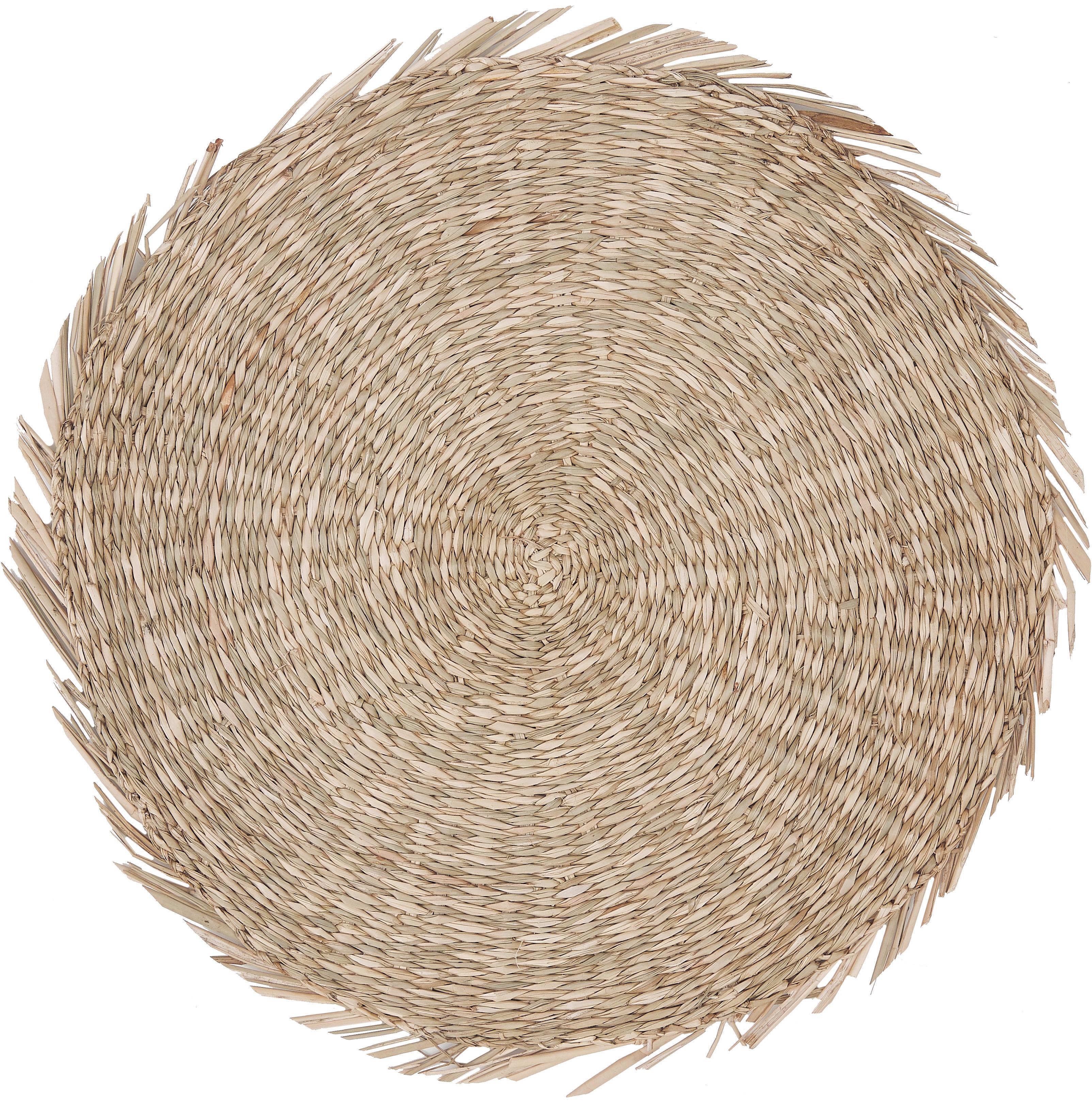 Mantel individual redondo de seagrass Whirl, Seagrass, Beige, Ø 38 cm