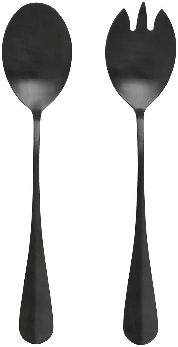 Komplet sztućców do sałatek ze stali nierdzewnej Black, 2 elem., Stal szlachetna, powlekana PVD, Czarny, matowy, D 25 cm