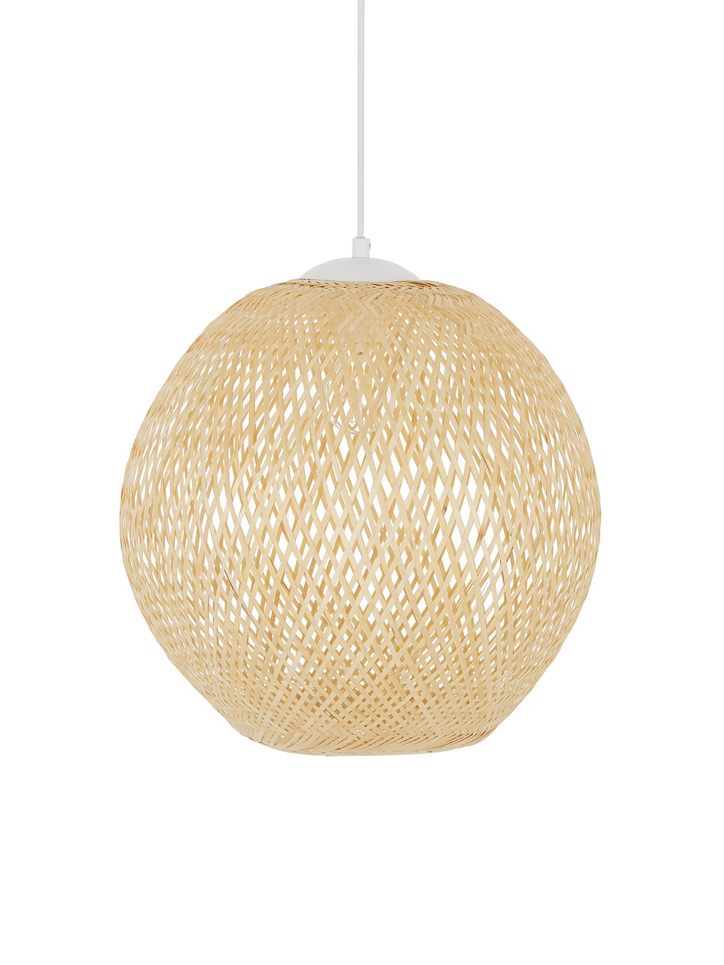 Lámpara de techo de bambú Jess, Pantalla: bambú, Cable: plástico El bambú es una , Bambú, blanco, Ø 40 x Al 39 cm