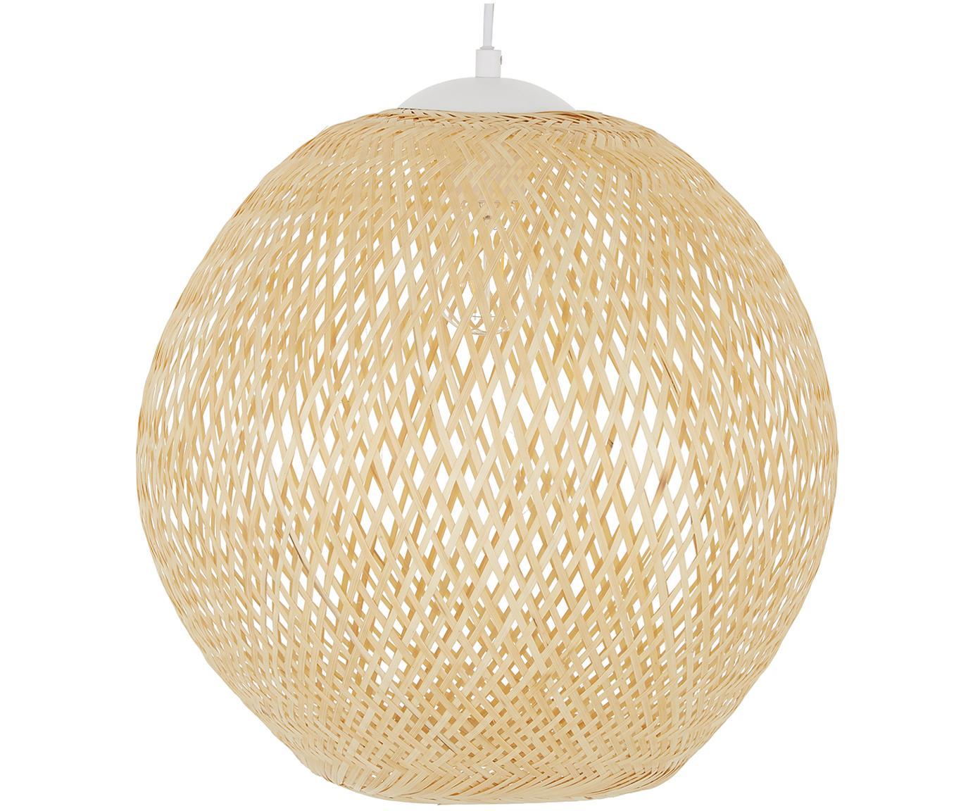 Hanglamp Jess, Lampenkap: bamboehout, Lampenkap: bamboe Baldakijn en lampframe: mat wit Snoer: wit, Ø 40 x H 39 cm
