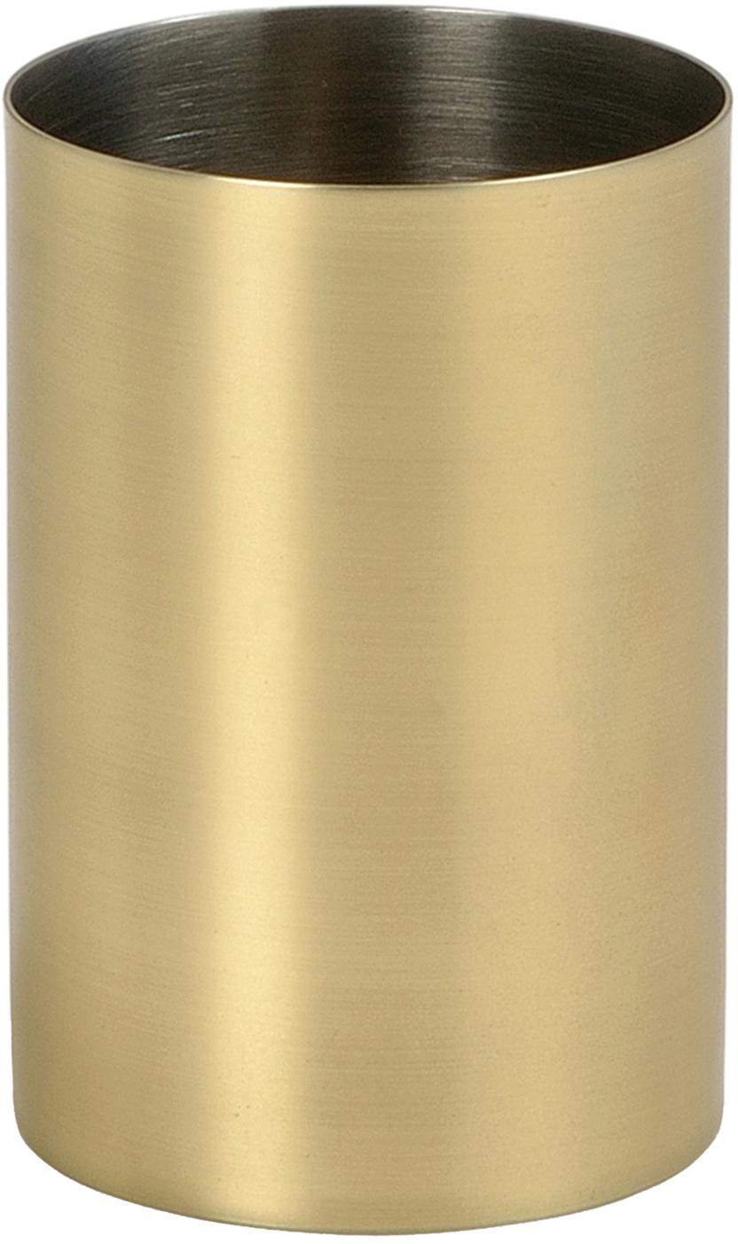Tandenborstelbeker van edelstaal Onyar, Gecoat edelstaal, Messingkleurig, Ø 7 x H 10 cm