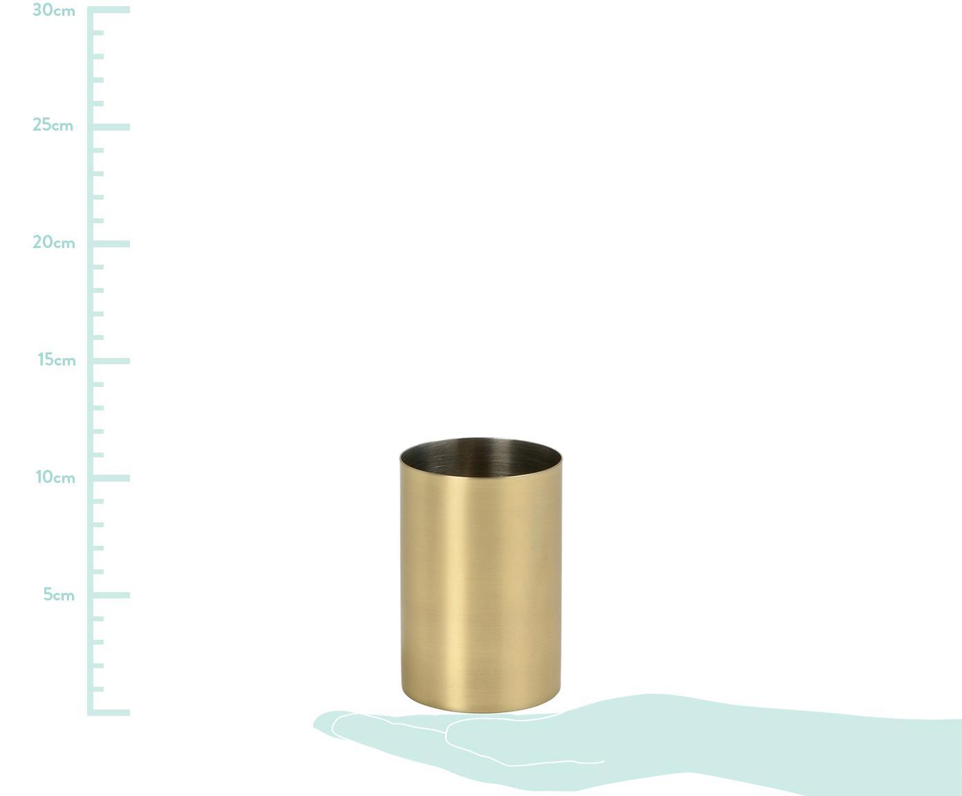 Edelstahl-Zahnputzbecher Onyar, Edelstahl, beschichtet, Messingfarben, Ø 7 x H 10 cm