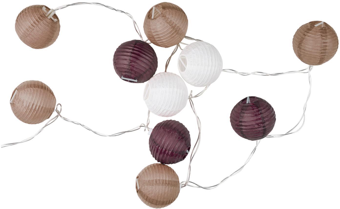 LED Lichterkette Ibiza, 330 cm, Papier, Kunststoff, Purpur, Braun, Weiß, L 330 cm