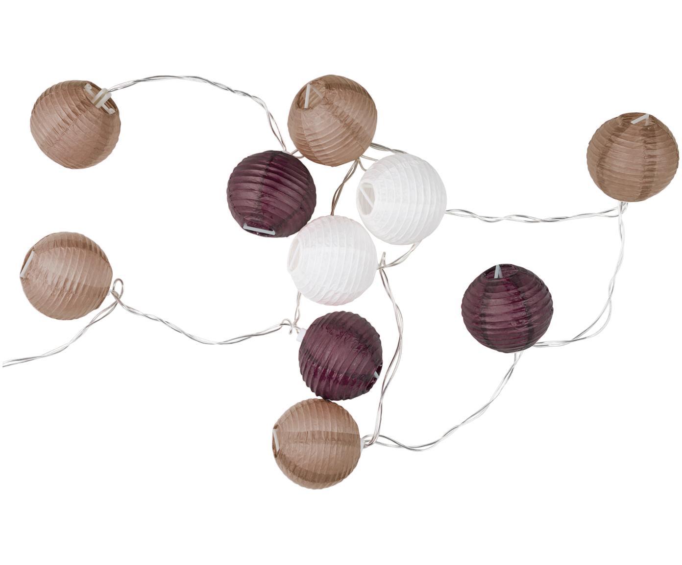 Girlanda świetlna LED Ibiza, 330 cm, Papier, tworzywo sztuczne, Purpurowy, brązowy, biały, D 330 cm