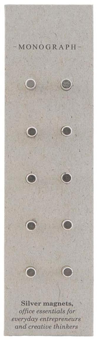 Magneten Neo, 10 stuks, Magnetisch metaal, Metaalkleurig, Ø 0,4 x D 1 cm