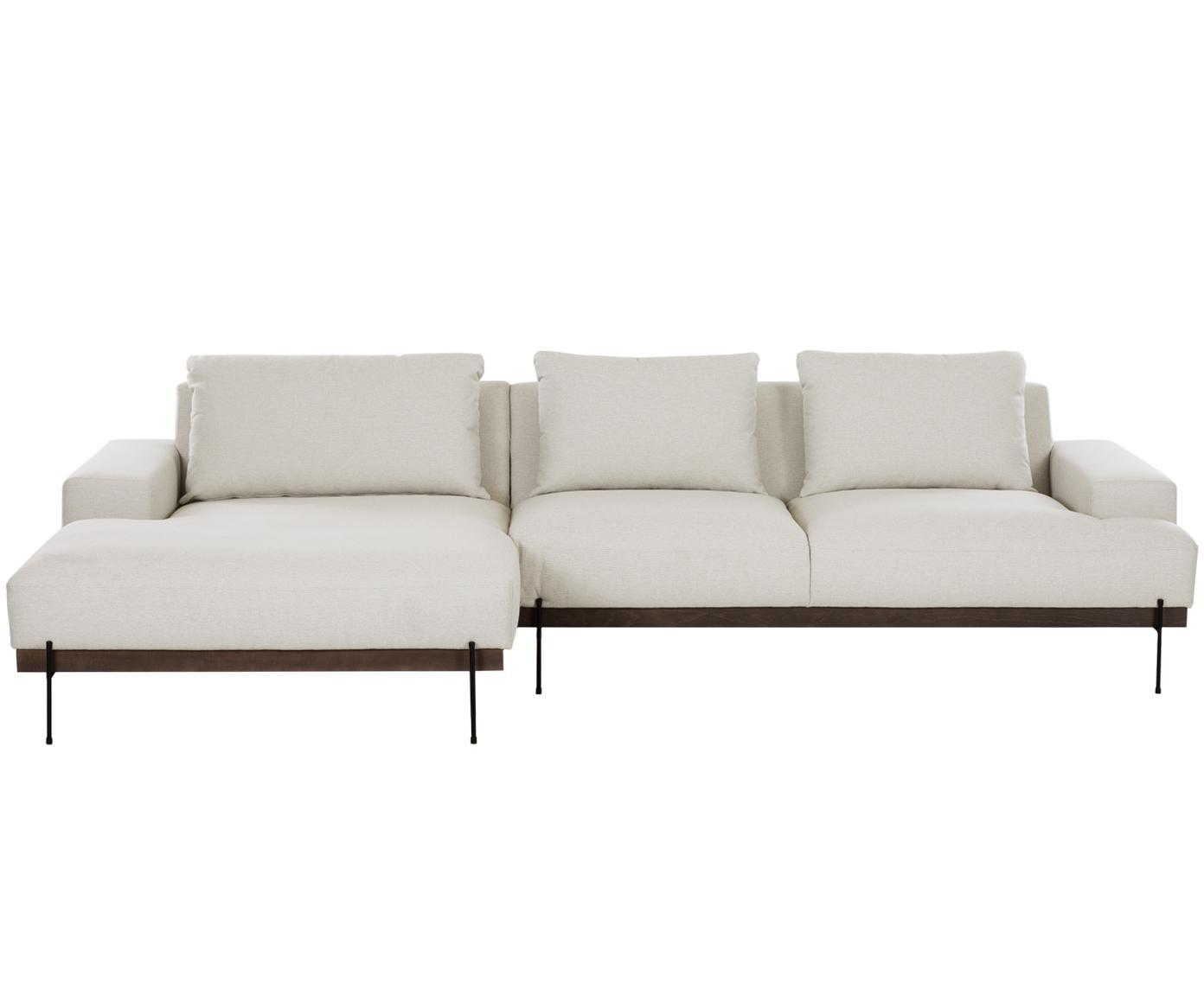 Hoekbank Brooks, Bekleding: polyester, Frame: gelakt grenenhout, Poten: gepoedercoat metaal, Beige, B 315 x D 148 cm