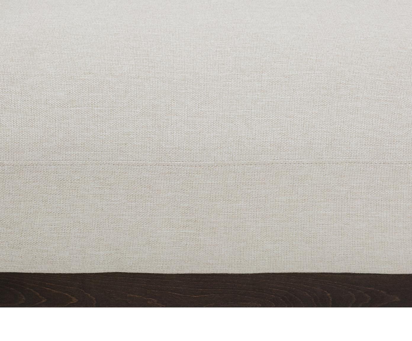 Divano angolare in tessuto beige Brooks, Rivestimento: poliestere 35.000 cicli d, Struttura: legno di pino, massiccio, Cornice: legno di pino, laccato, Piedini: metallo verniciato a polv, Tessuto beige, Larg. 315 x Prof. 148 cm