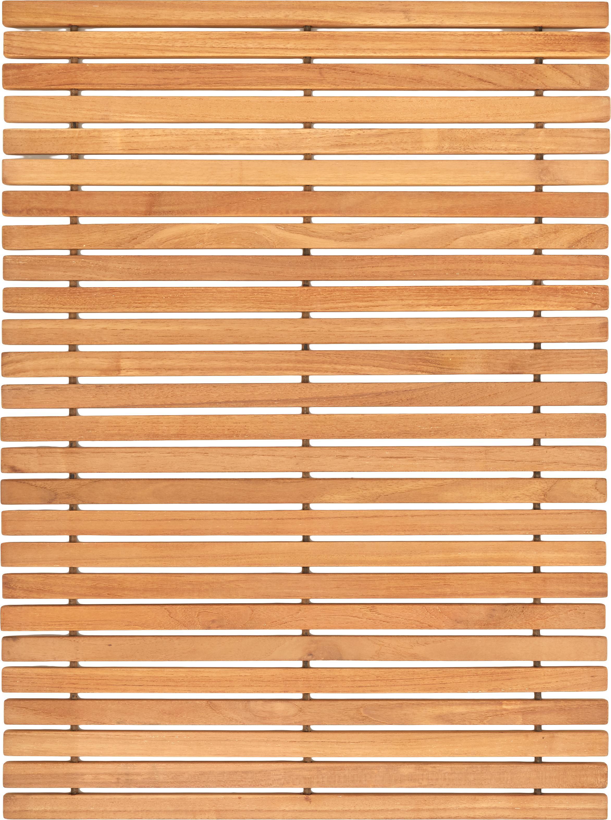 Badvorleger Anna aus Teakholz, Teakholz Das Produkt besteht aus Teakholz aus zertifizierter Forstwirtschaft in Indonesien, in erster Linie aus überschüssigem Holz aus der Möbelproduktion., Braun, 60 x 80 cm