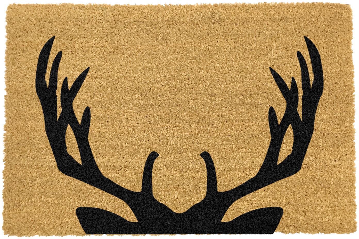 Fussmatte Stag, Kokosfaser, Fussmatte: Beige, Schriftzug: Schwarz, 40 x 60 cm