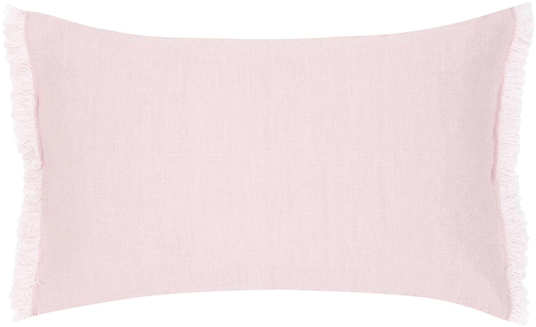Poszewka na poduszkę z lnu z frędzlami Luana, 100% len, Blady różowy, S 30 x D 50 cm