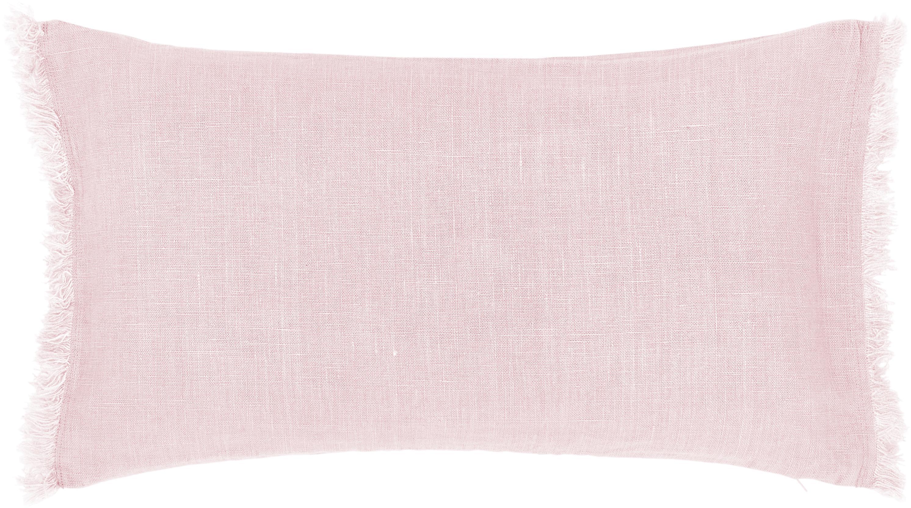 Federa arredo in lino rosa con frange Luana, 100% lino, Rosa cipria, Larg. 30 x Lung. 50 cm