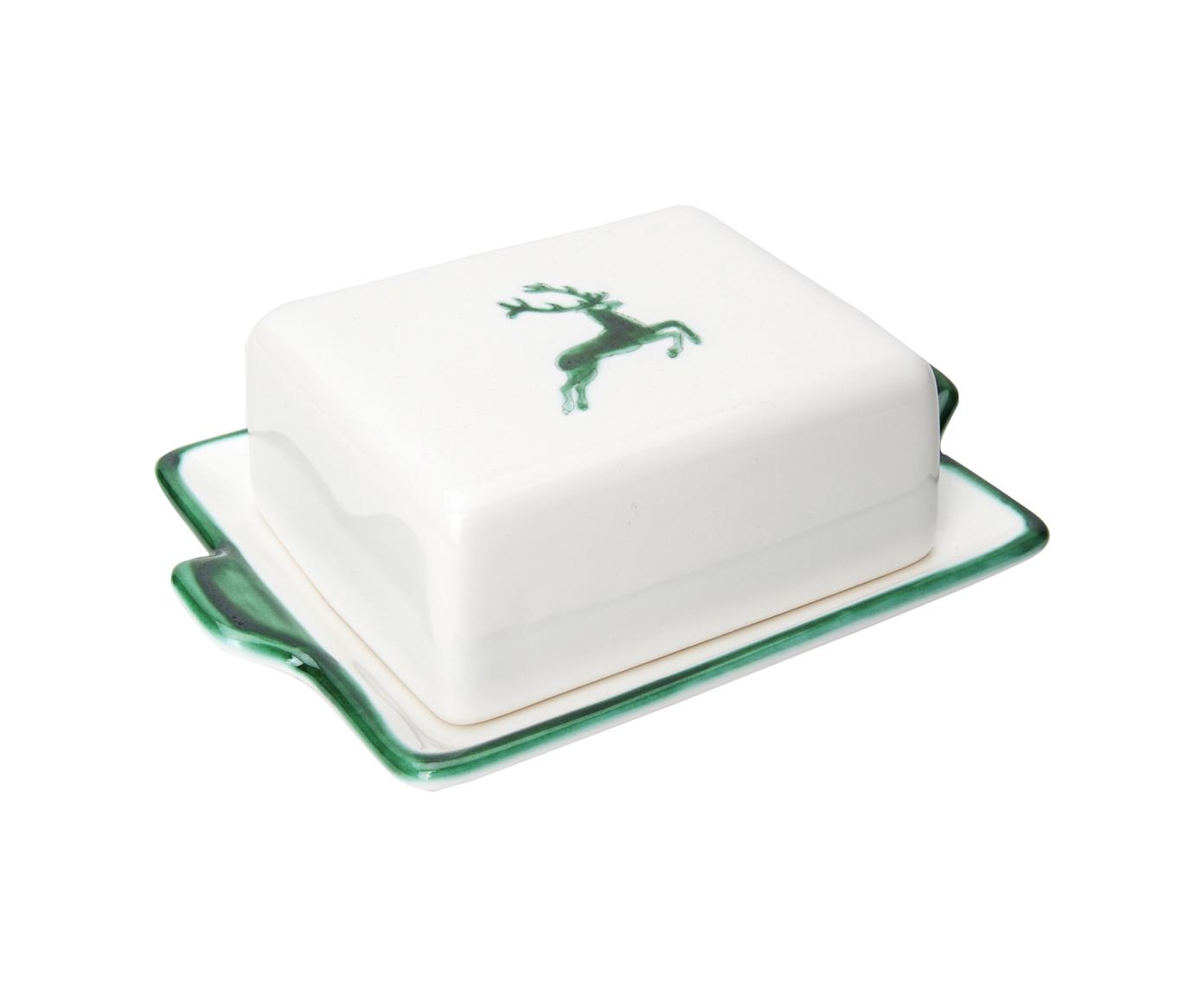 Maselniczka Hirsch, Ceramika, Zielony, biały, S 18 x W 6 x G 10 cm