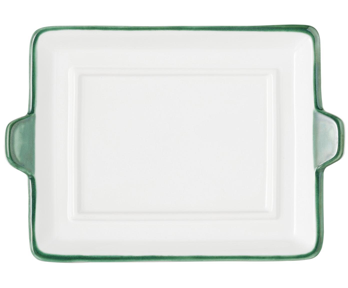 Ręcznie malowana maselniczka Grüner Hirsch, Ceramika, Zielony, biały, S 18 x W 6 x G 10 cm