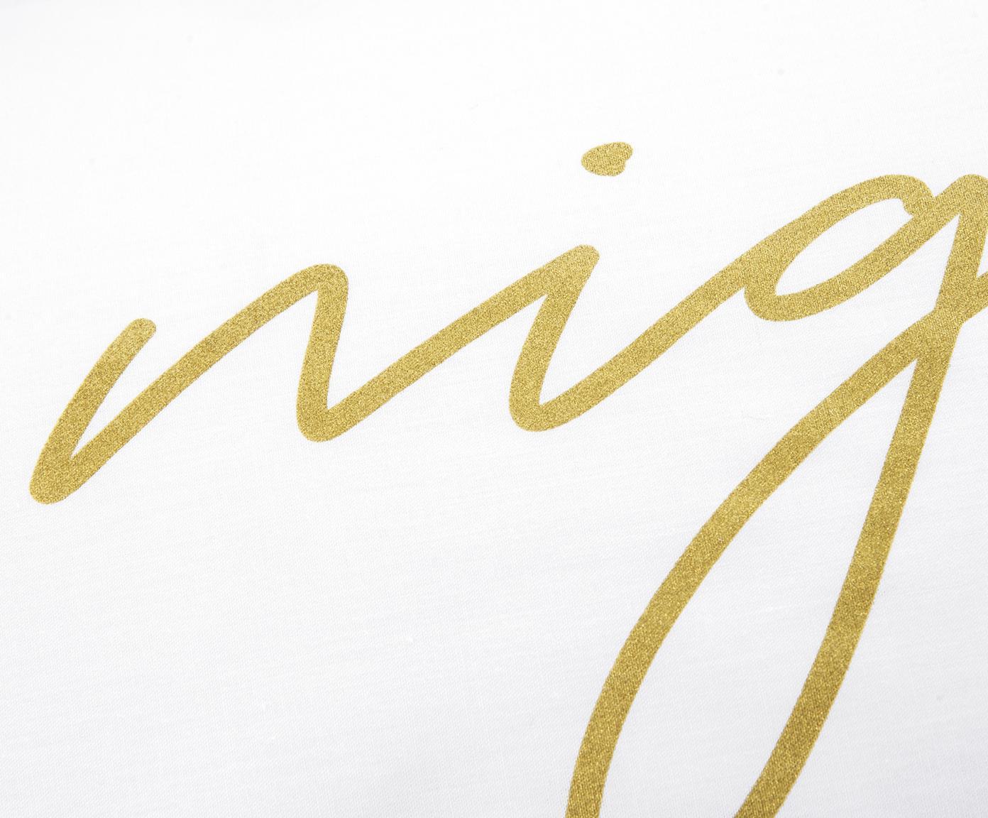 Pościel z perkalu Writings, Biały, odcienie złotego, 135 x 200 cm