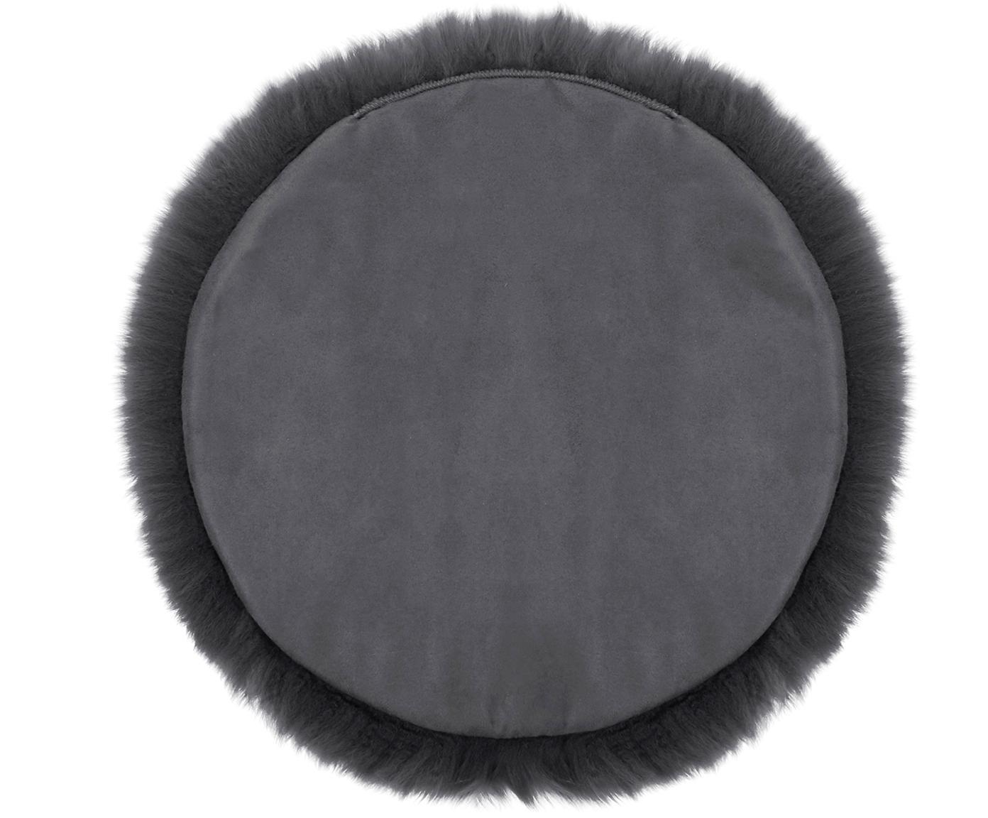 Runde Schaffell-Sitzauflage Oslo, glatt, Flor: 100% Schaffell, Rückseite: 100% Polyester, Dunkelgrau, Ø 37 cm