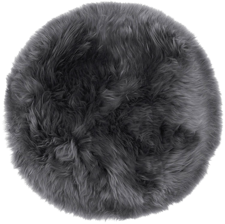 Cojín de asiento de oveja Oslo, Parte delantera: 100%piel de oveja, Parte trasera: 100%cuero cuertido, Gris oscuro, Ø 37 cm