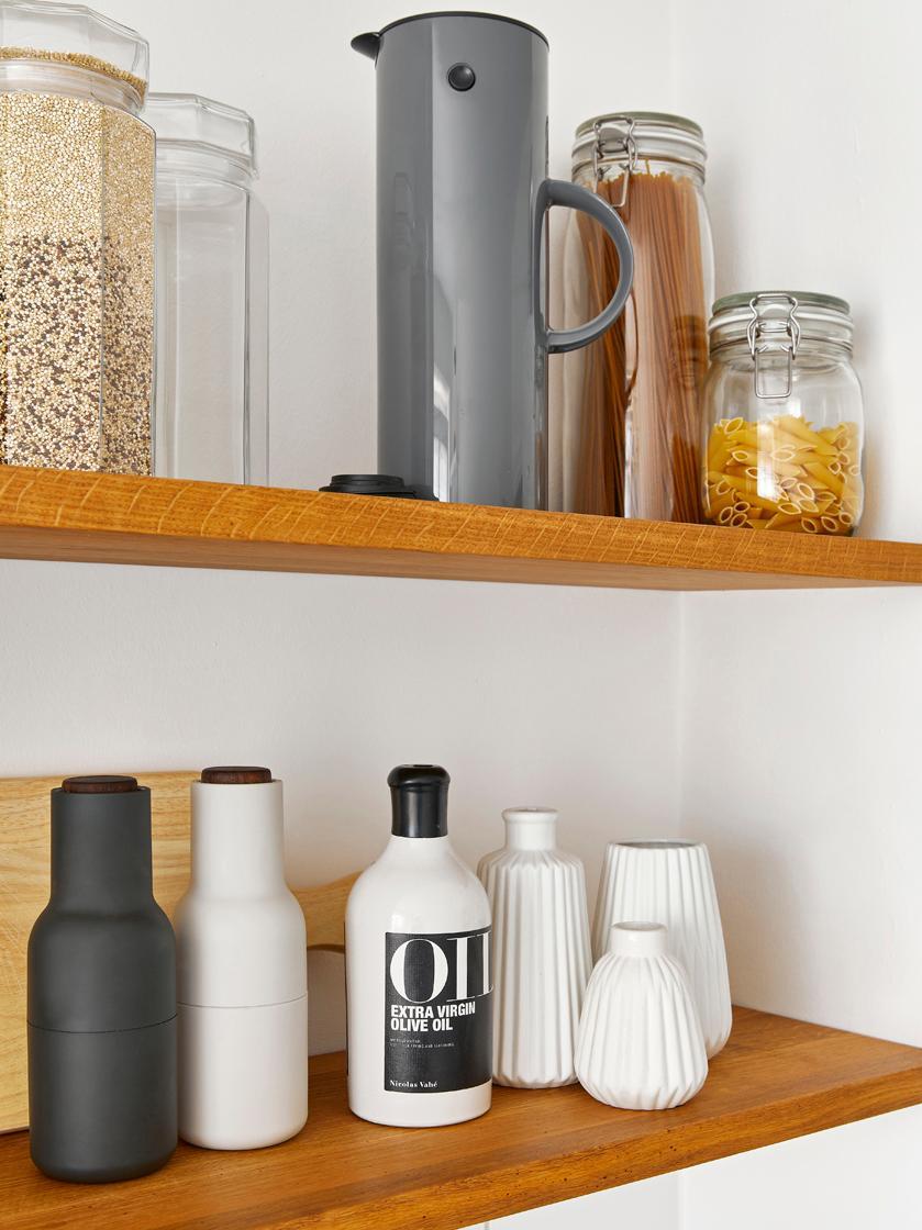 Designer Salz- & Pfeffermühle Bottle Grinder mit Walnussholzdeckel, Korpus: Kunststoff, Mahlwerk: Keramik, Deckel: Walnussholz, Anthrazit, Weiß, Ø 8 x H 21 cm