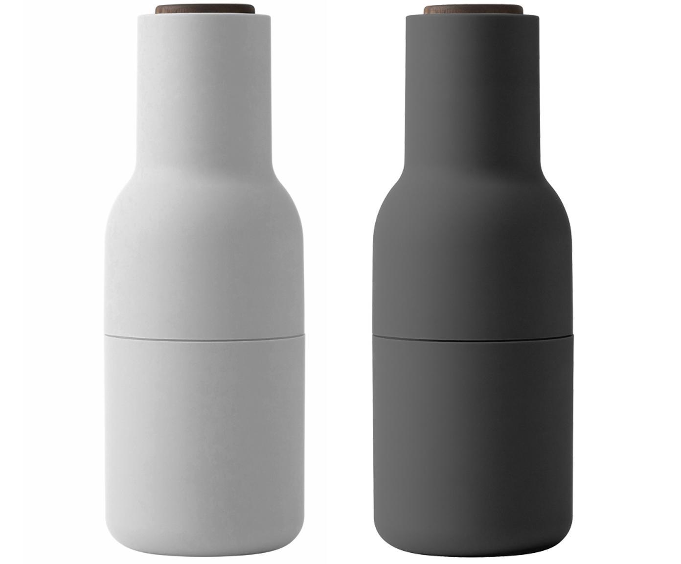 Molinillos de diseño Bottle Grinder, 2pzas., Estructura: plástico, Grinder: cerámica, Gris antracita, blanco, Ø 8 x Al 21 cm