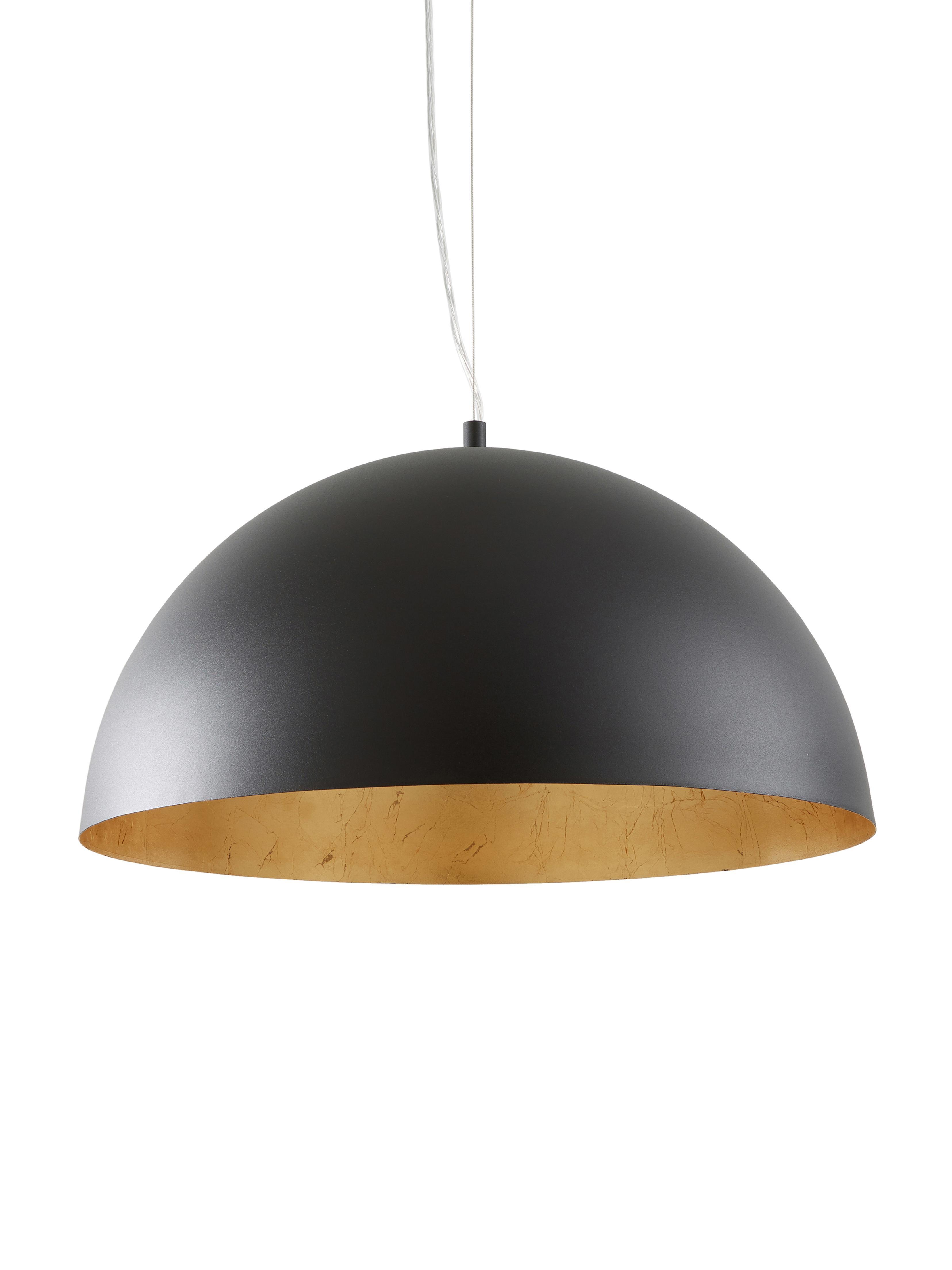 Hanglamp Brad, Baldakijn: gepoedercoat metaal, Lampenkap: gepoedercoat metaal, Zwart, Ø 53 x H 25 cm
