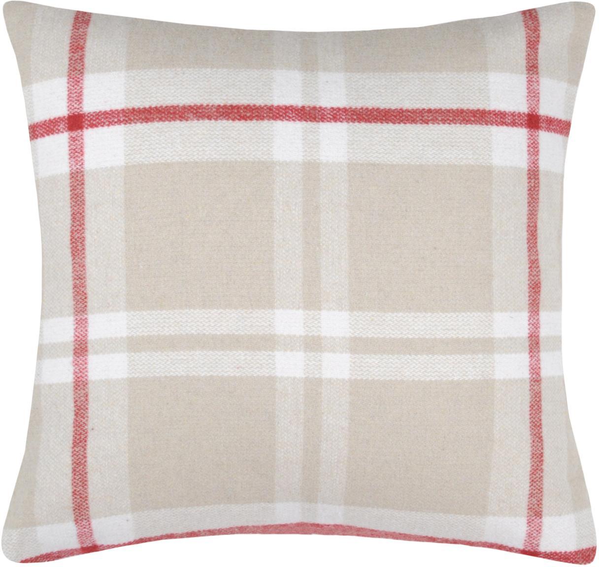 Federa arredo a quadri Granier, 95% poliestere, 5% lana, Beige, bianco, rosso, Larg. 40 x Lung. 40 cm