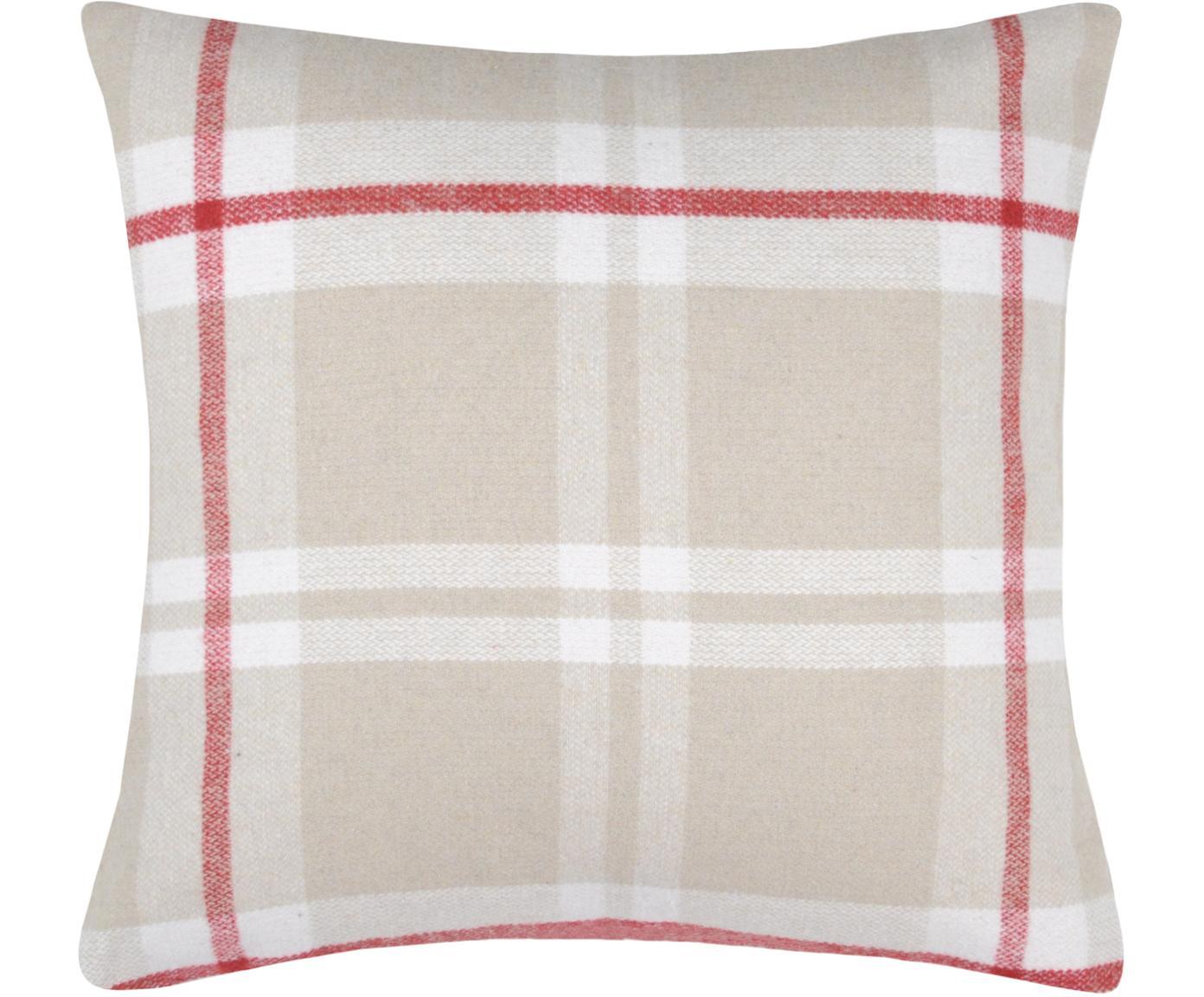 Karierte Kissenhülle Granier, 95% Polyester, 5% Wolle, Beige, Weiss, Rot, 40 x 40 cm