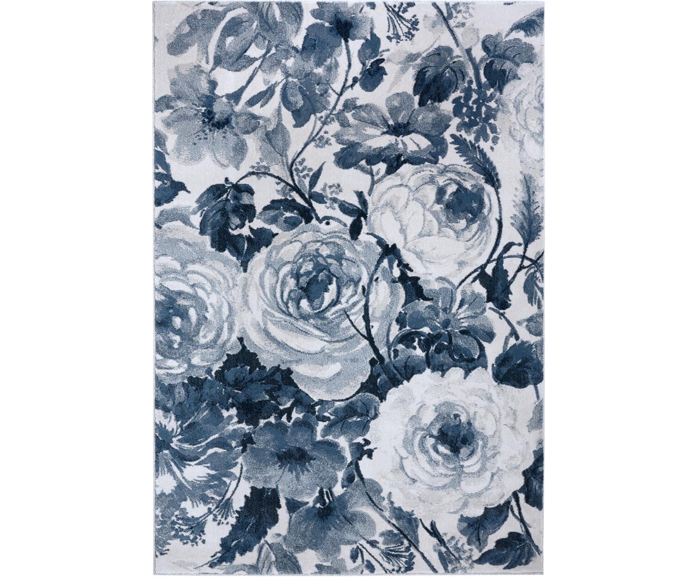 Vloerkleed Peony met bloemmotief, 100% polypropyleen, Blauw, crèmekleurig, B 80 x L 150 cm (maat XS)
