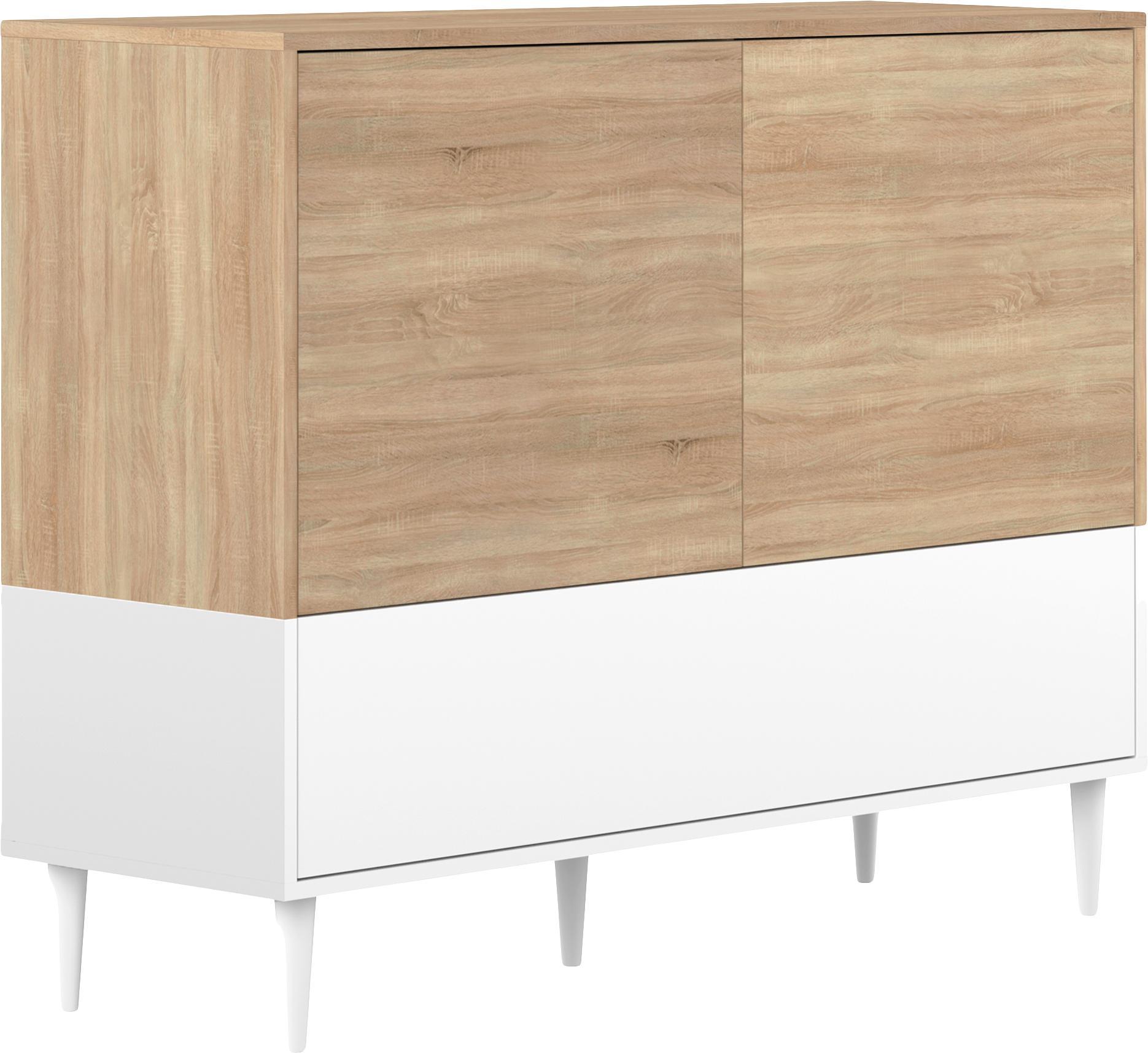 Komoda scandi Horizon, Korpus: płyta wiórowa pokryta mel, Nogi: lite drewno bukowe, lakie, Drewno dębowe, biały, S 120 x W 95 cm