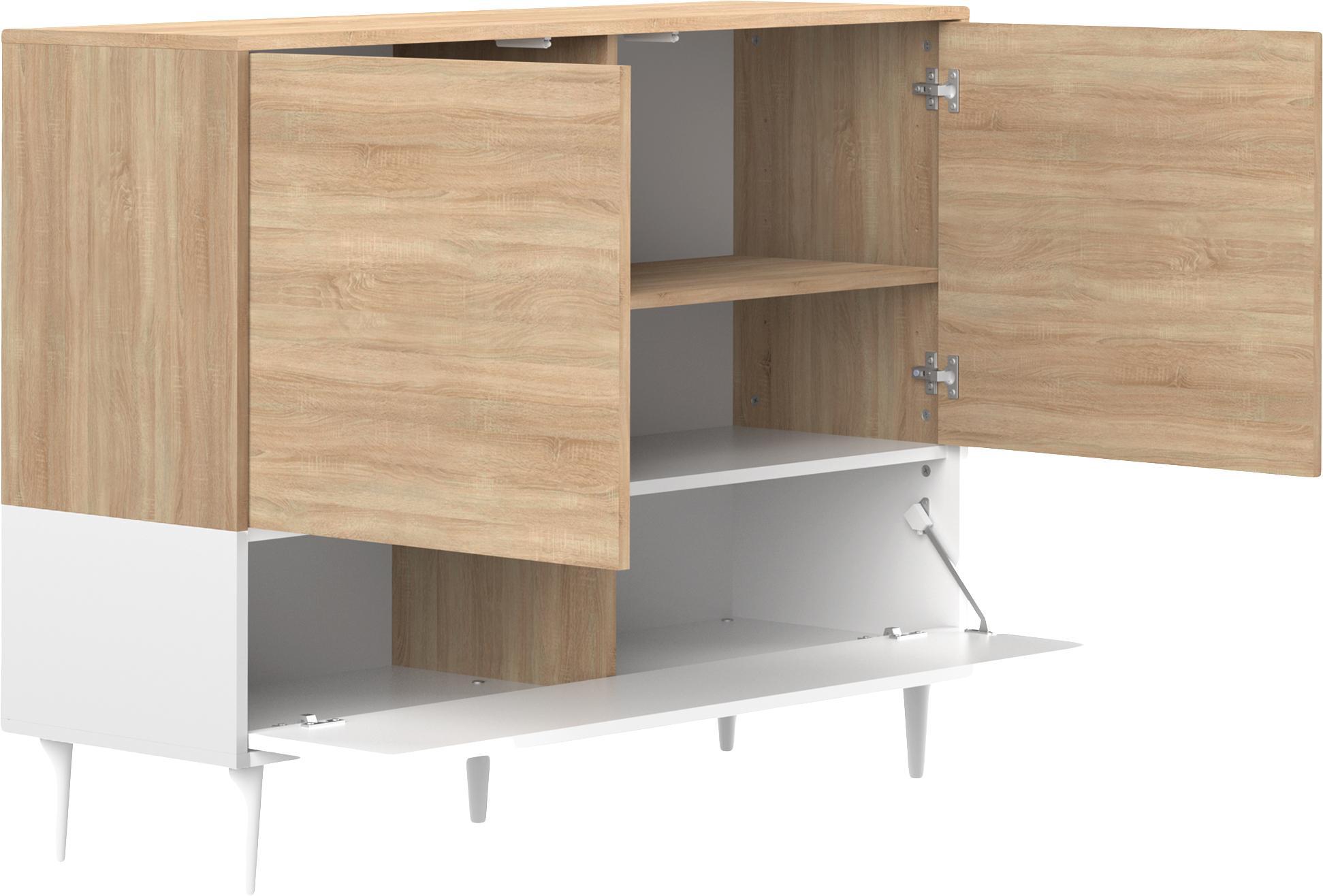Sideboard Horizon im Skandi Design, Korpus: Spanplatte, melaminbeschi, Füße: Buchenholz, massiv, lacki, Eichenholz, Weiß, 120 x 95 cm