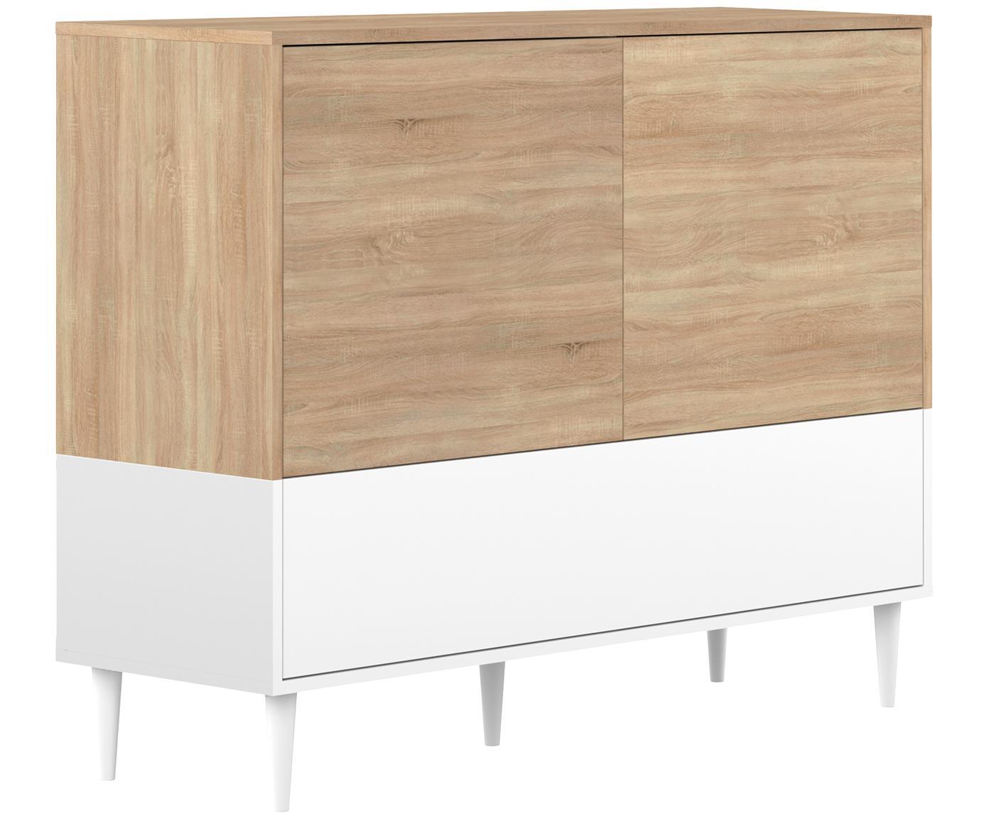 Aparador Horizon, estilo escandinavo, Estructura: aglomerado, recubierto de, Patas: madera de haya maciza, pi, Roble, blanco, An 120 x Al 95 cm