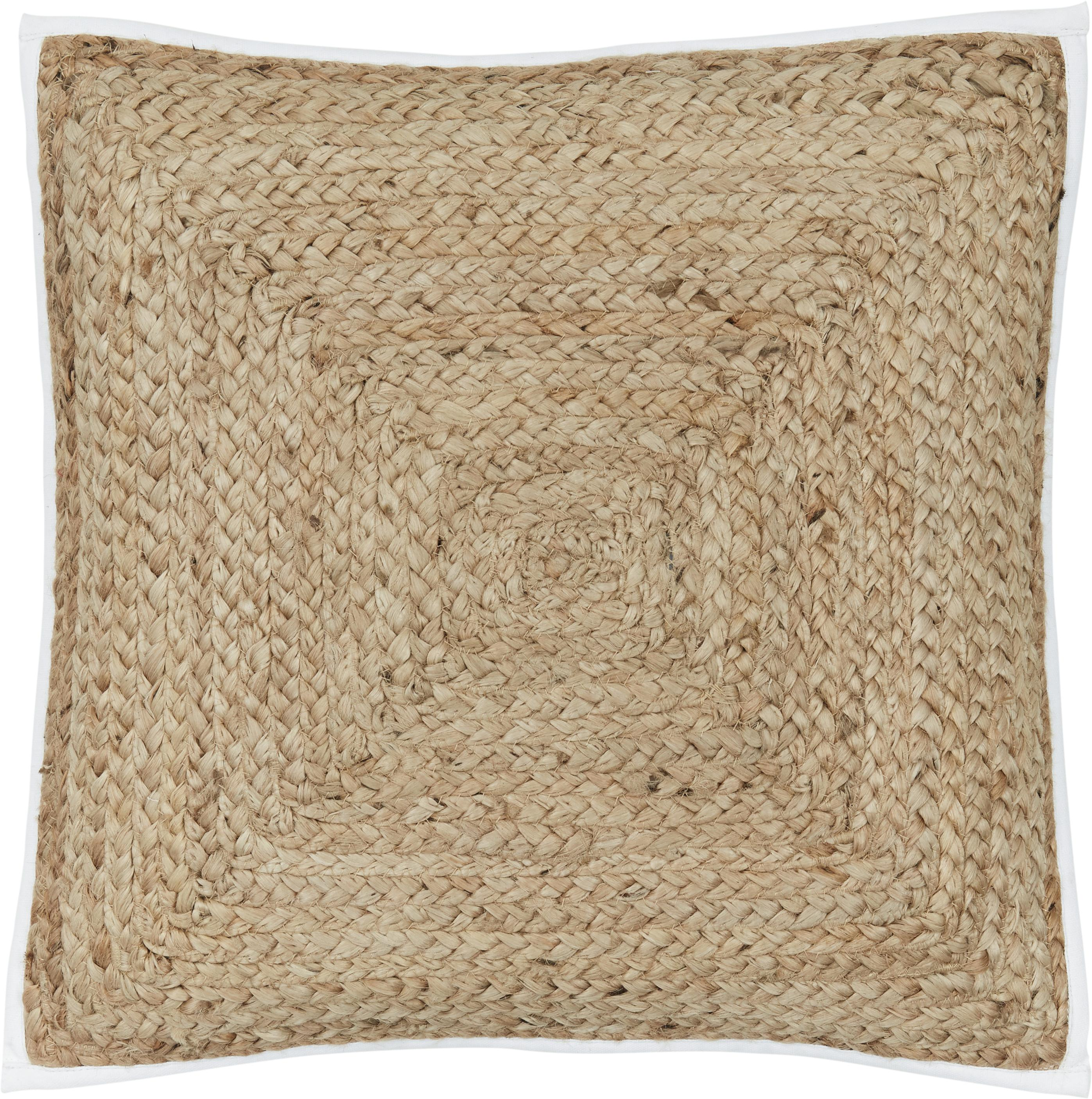 Funda de cojín de yute Justina, Parte superior: yute, Parte trasera: algodón, Beige, blanco, An 45 x L 45 cm