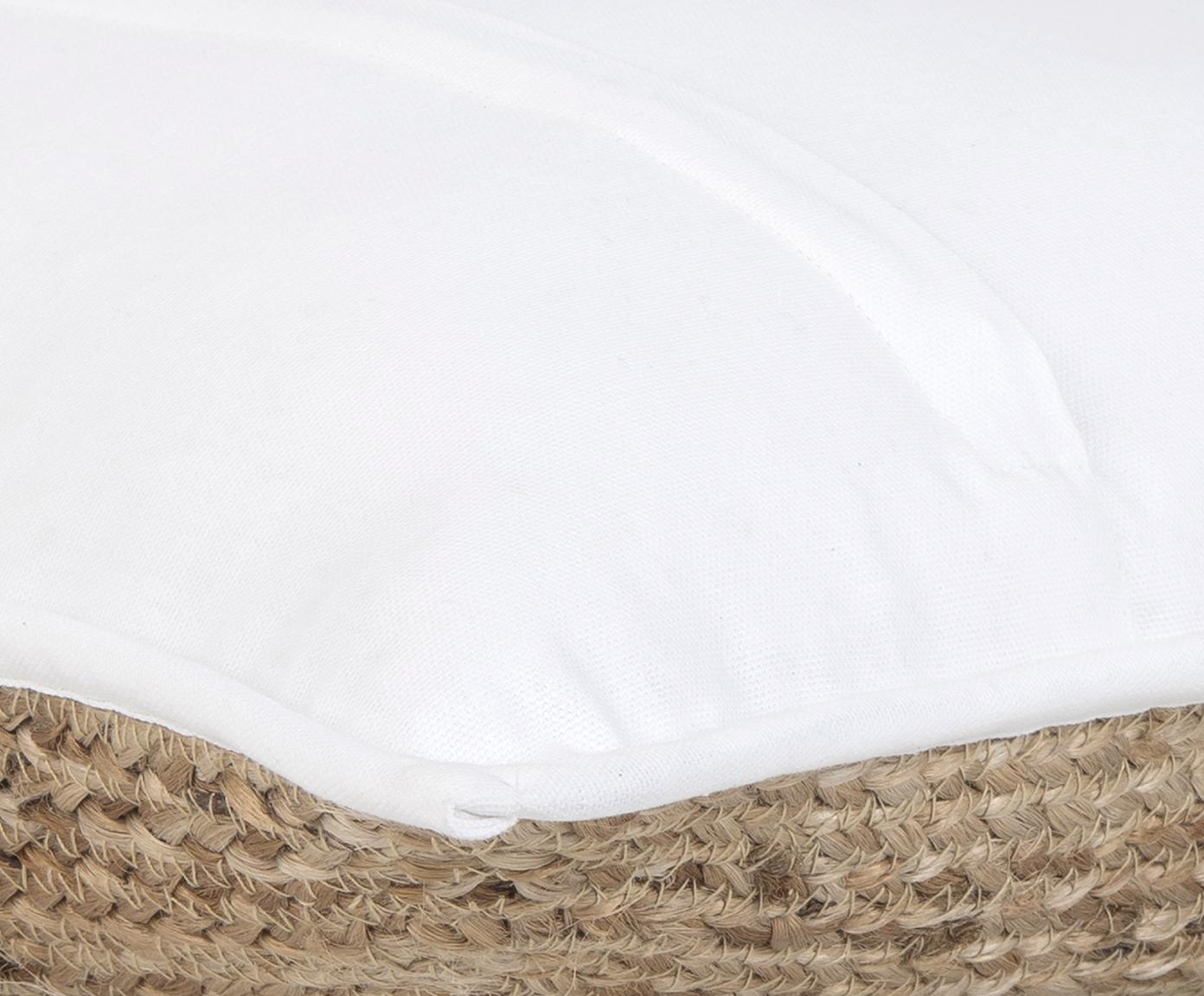 Jute-Kissenhülle Justina, Vorderseite: Jute, Rückseite: Baumwolle, Beige, Weiss, 45 x 45 cm
