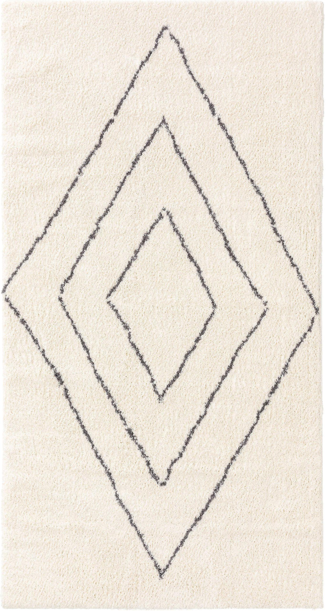 Alfombra de pelo largo Benno, 100%poliéster, Crema, gris oscuro, An 80 x L 150 cm (Tamaño XS)