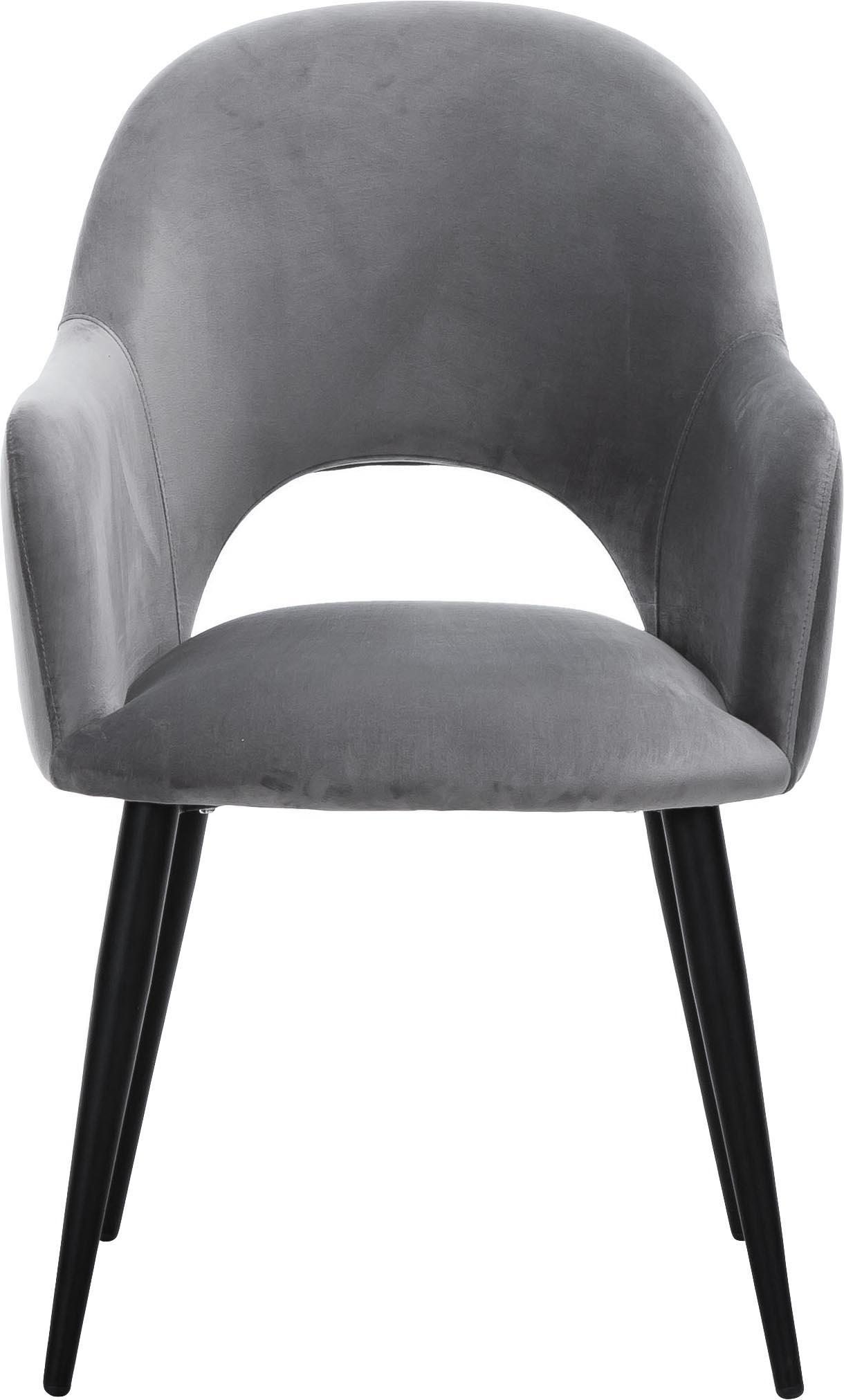 Samt-Armlehnstuhl Rachel, Bezug: Samt (Polyester) Der hoch, Beine: Metall, pulverbeschichtet, Samt Stahlgrau Beine Schwarz, B 47 x T 64 cm