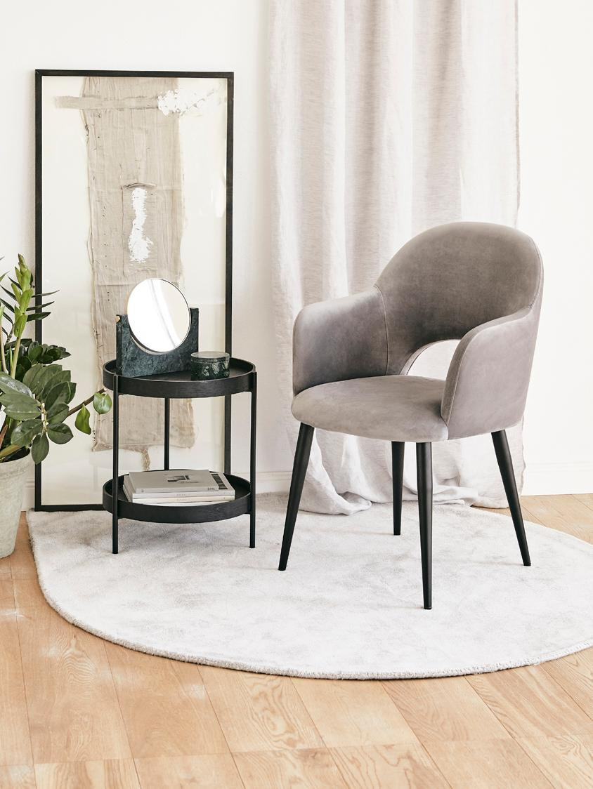 Sedia con braccioli in velluto Rachel, Rivestimento: velluto (poliestere) 50.0, Gambe: metallo verniciato a polv, Velluto grigio acciaio gambe nero, Larg. 47 x Prof. 64 cm